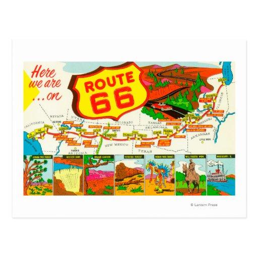 Karte von Weg 66 von Los Angeles zu Chicago Postkarte
