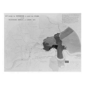 Karte, welche die Verteilung von Todesfällen zeigt Postkarte