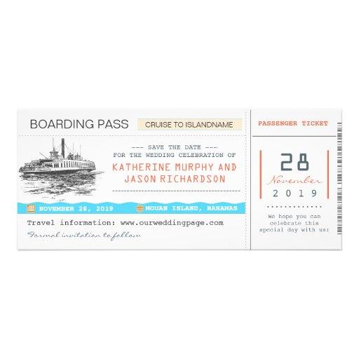 Karten des Kreuzfahrt-Boarding-Durchlaufs Save the Personalisierte Einladungskarten