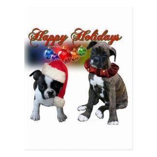 Karten Frohe Feiertage von BT und von den Boxerw Postkarte
