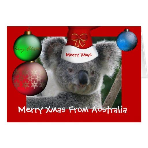 karten fr hliches weihnachten vom australien koala zazzle. Black Bedroom Furniture Sets. Home Design Ideas