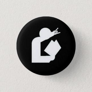 """""""Karten gegen Bibliotheksamt"""" Logo-Knopf Runder Button 3,2 Cm"""