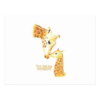 """Karten. Giraffe und Baby mit """"Ihnen sind mein Postkarte"""