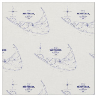 Karten-Marine-Blau Nantucket Insel MAs Vintages Stoff