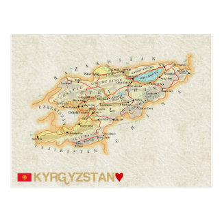 KARTEN-POSTKARTEN ♥ Kirgisistan Postkarte