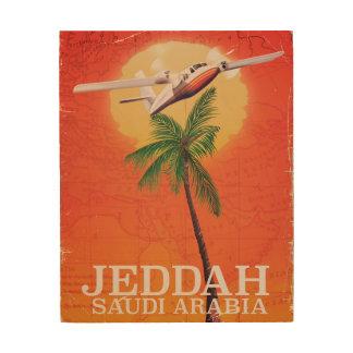Karten-Reiseplakat Dschiddas Saudi-Arabien Holzdruck