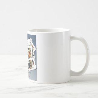Karten und Würfelentwurf Kaffeetasse