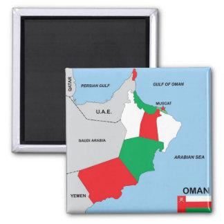 Kartenflaggen-Bezirksregion Oman-Landes politische Quadratischer Magnet