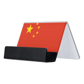 Kartenhalter mit Flagge der China Schreibtisch-Visitenkartenhalter
