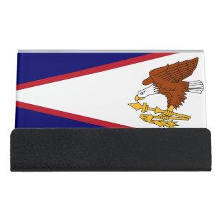 Kartenhalter mit Flagge von American Samoa, USA Schreibtisch-Visitenkartenhalter