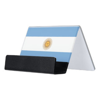 Kartenhalter mit Flagge von Argentinien, USA Schreibtisch-Visitenkartenhalter