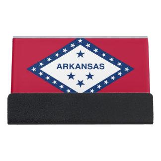 Kartenhalter mit Flagge von Arkansas-Staat, USA Schreibtisch-Visitenkartenhalter