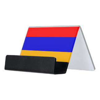 Kartenhalter mit Flagge von Armenien Schreibtisch-Visitenkartenhalter