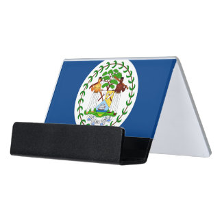 Kartenhalter mit Flagge von Belize Schreibtisch-Visitenkartenhalter
