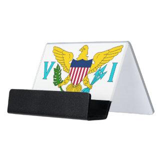 Kartenhalter mit Flagge von den USA-Jungferninseln Schreibtisch-Visitenkartenhalter