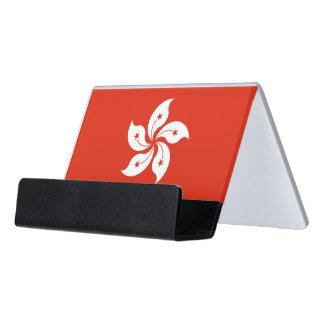 Kartenhalter mit Flagge von Hong Kong Schreibtisch-Visitenkartenhalter