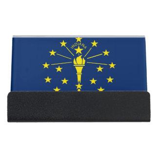 Kartenhalter mit Flagge von Indiana-Staat, USA Schreibtisch-Visitenkartenhalter