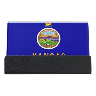 Kartenhalter mit Flagge von Kansas-Staat, USA Schreibtisch-Visitenkartenhalter