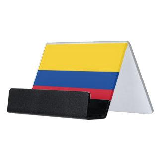 Kartenhalter mit Flagge von Kolumbien Schreibtisch-Visitenkartenhalter