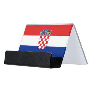 Kartenhalter mit Flagge von Kroatien Schreibtisch-Visitenkartenhalter