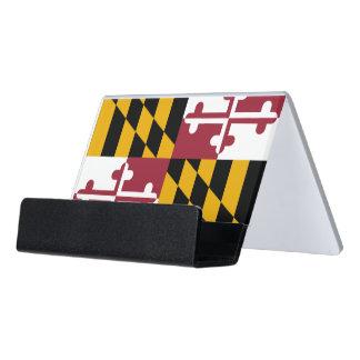Kartenhalter mit Flagge von Maryland-Staat, USA Schreibtisch-Visitenkartenhalter