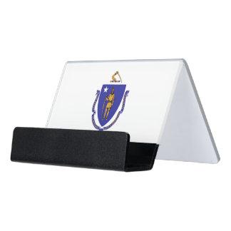 Kartenhalter mit Flagge von Massachusetts-Staat, Schreibtisch-Visitenkartenhalter