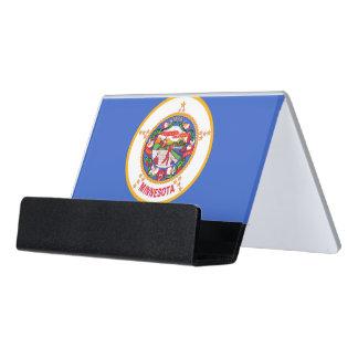 Kartenhalter mit Flagge von Minnesota-Staat, USA Schreibtisch-Visitenkartenhalter