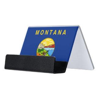 Kartenhalter mit Flagge von Montana-Staat, USA Schreibtisch-Visitenkartenhalter