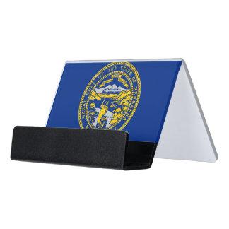 Kartenhalter mit Flagge von Nebraska-Staat, USA Schreibtisch-Visitenkartenhalter