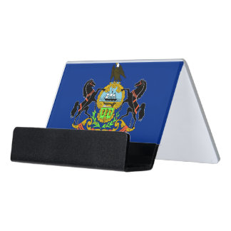 Kartenhalter mit Flagge von Pennsylvania-Staat, Schreibtisch-Visitenkartenhalter