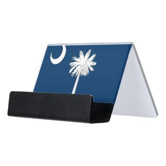 Kartenhalter mit Flagge von South Carolina, USA Schreibtisch-Visitenkartenhalter