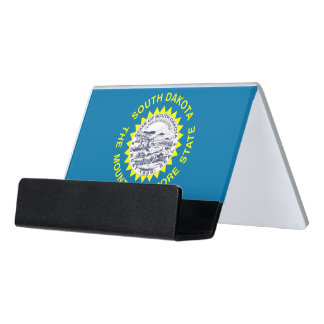 Kartenhalter mit Flagge von South Dakota, USA Schreibtisch-Visitenkartenhalter