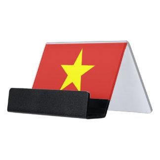 Kartenhalter mit Flagge von Vietnam Schreibtisch-Visitenkartenhalter