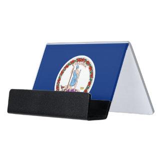 Kartenhalter mit Flagge von Virginia-Staat, USA Schreibtisch-Visitenkartenhalter