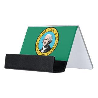 Kartenhalter mit Flagge von Washington-Staat, USA Schreibtisch-Visitenkartenhalter
