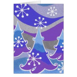 """Kartenvertikale der Winter-Baum-blaue """"frohen Karte"""