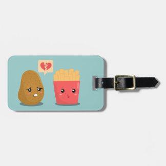 Kartoffel ist das Herz, das über Pommes-Frites Gepäckanhänger