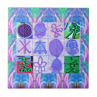 KARUNA Reiki Symbole: Künstlerische Wiedergabe Kleine Quadratische Fliese