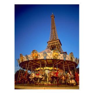 Karussell, Eiffelturm, Paris, Frankreich Postkarte