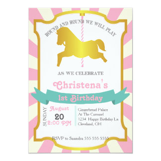 Karussell-Geburtstags-Party Einladung