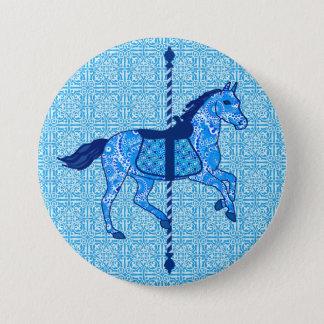 Karussell-Pferd - Kobalt-und Himmel-Blau Runder Button 7,6 Cm