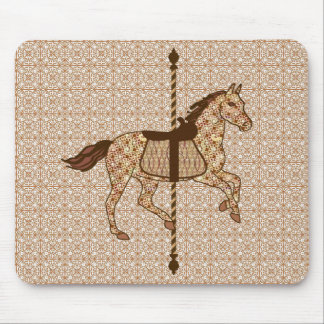 Karussell-Pferd - schokoladenbraun und TAN Mauspad