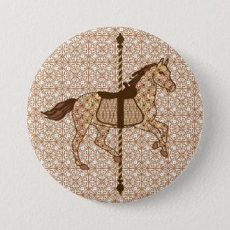 Karussell-Pferd - schokoladenbraun und TAN Runder Button 7,6 Cm