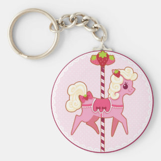 Karussell-Pony - Erdbeeren und Creme Schlüsselanhänger