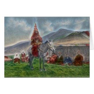Kasachische Frau Grußkarten