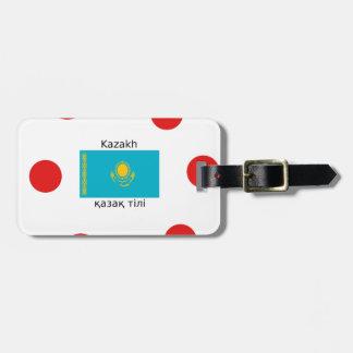 Kasachische Sprache und Kasachstan-Flaggen-Entwurf Kofferanhänger