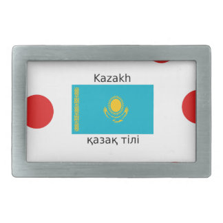 Kasachische Sprache und Kasachstan-Flaggen-Entwurf Rechteckige Gürtelschnalle