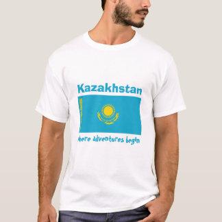 Kasachstan-Flagge + Karte + Text-T - Shirt