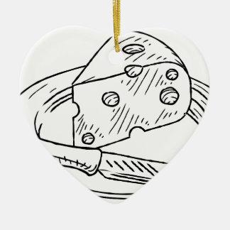 Käse-Scheibe-Vintage Retro Holzschnitt-Art Keramik Herz-Ornament