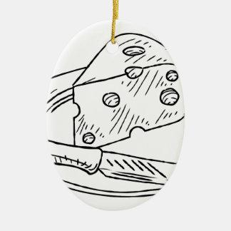 Käse-Scheibe-Vintage Retro Holzschnitt-Art Ovales Keramik Ornament